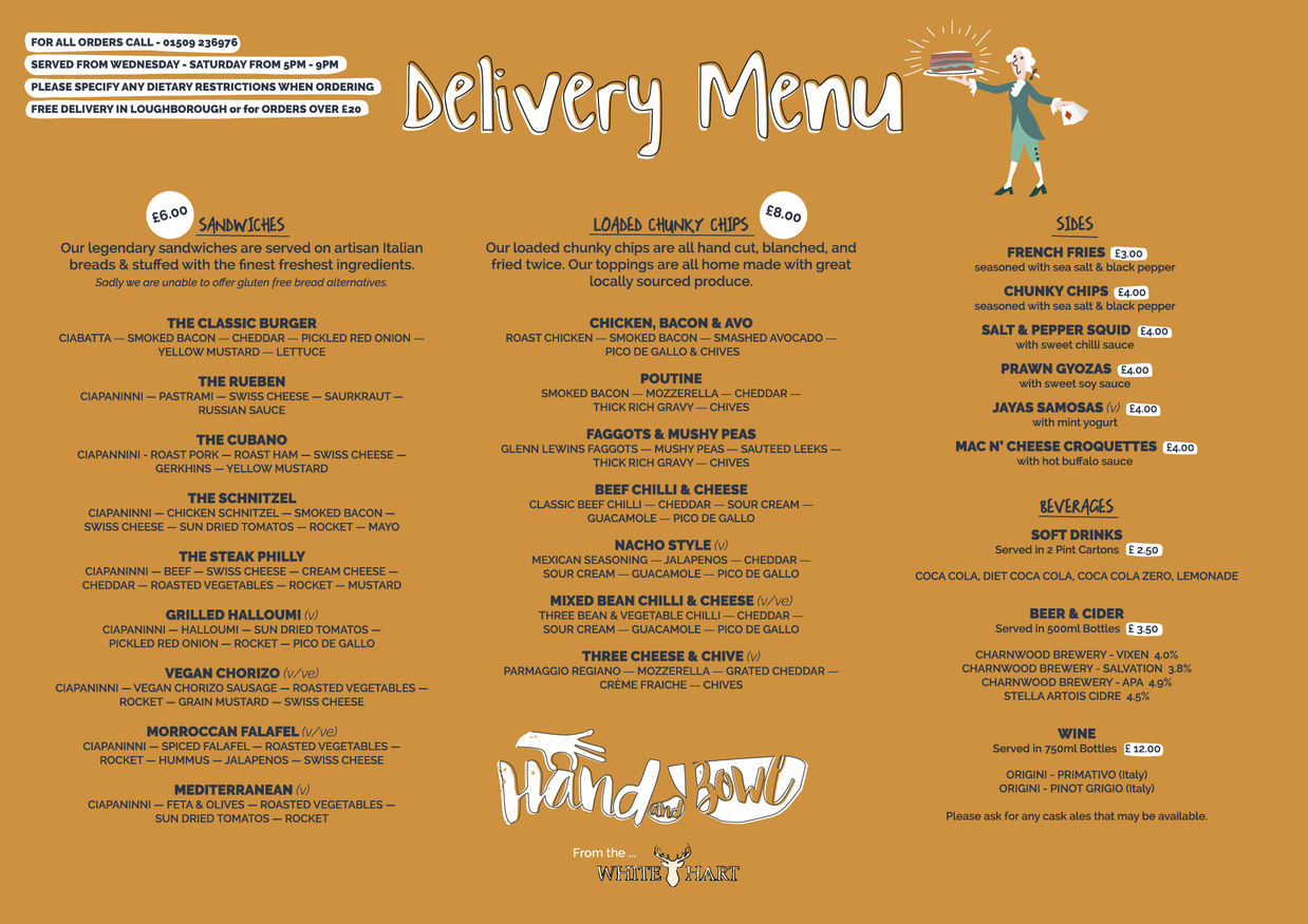 Delivery Menu White Hart